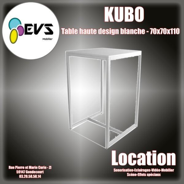 TABLE HAUTE DESIGN BLANCHE - 70x70x110 CM