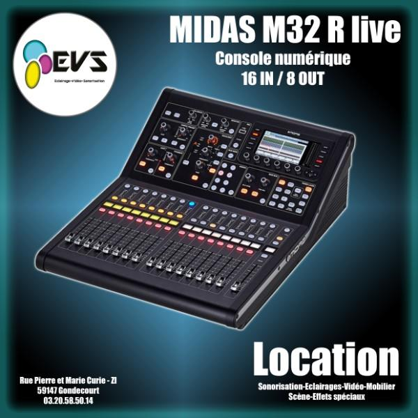 MIDAS- M32R - console numérique 16 entrées lignes/mic et 8 sorties aux