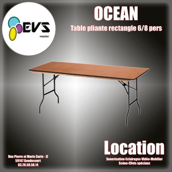TABLE DE BANQUET RECTANGULAIRE OCEAN  6/8 PERSONNES - 183x76 cm
