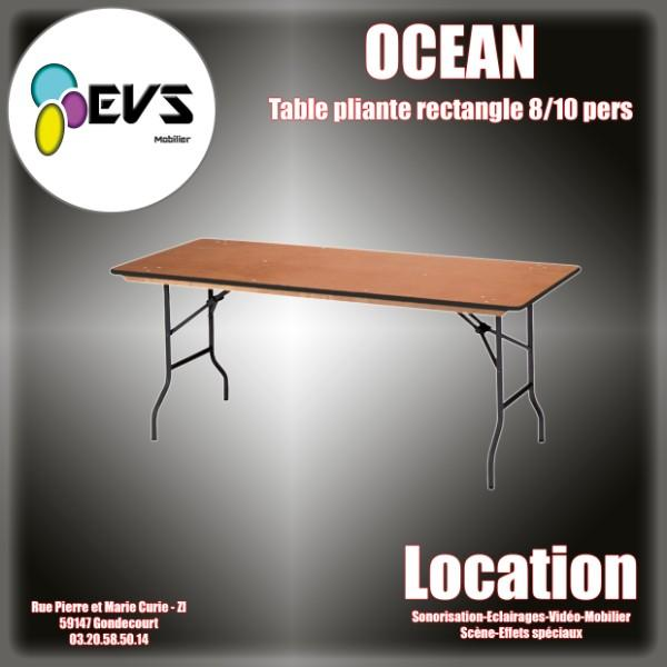 TABLE DE BANQUET RECTANGULAIRE OCEAN  8/10 PERSONNES - 220x76 cm