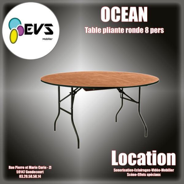 TABLE DE BANQUET RONDE OCEAN  8 PERSONNES - DIAM 152x76 cm